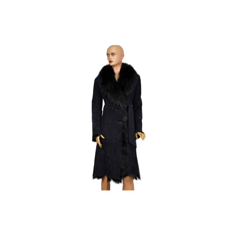 Дамско палто от естествена кожа в син цвят MF-1177