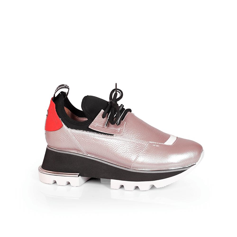 Дамски спортни обувки от естествена кожа и стреч ILV-2052/1 - 1