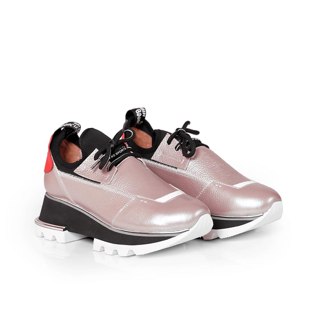Дамски спортни обувки от естествена кожа и стреч ILV-2052/1 - 2