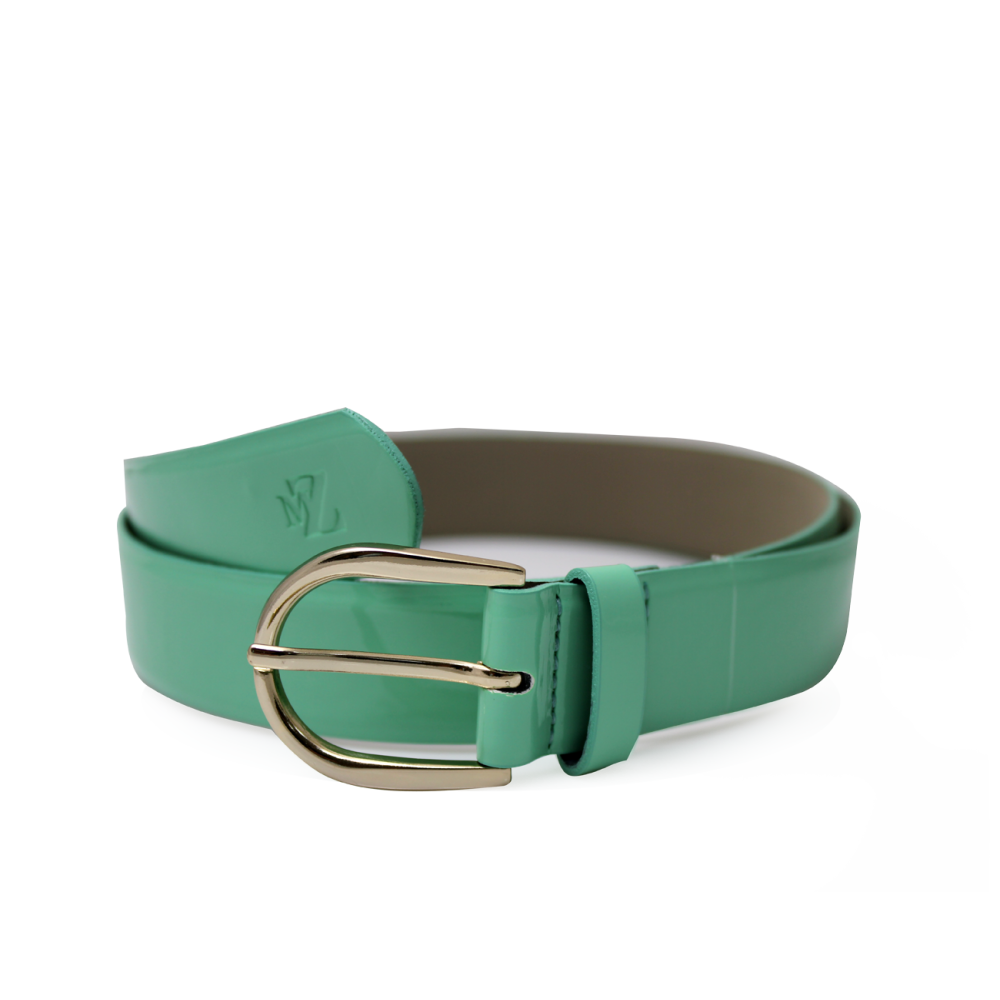Дамски колан от еко лак в зелен цвят LD-772 - 1