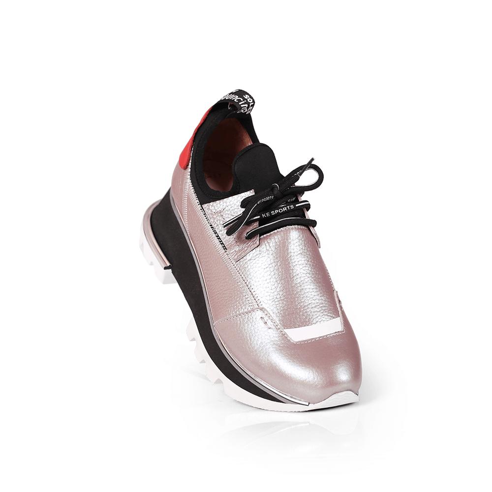 Дамски спортни обувки от естествена кожа и стреч ILV-2052/1 - 5