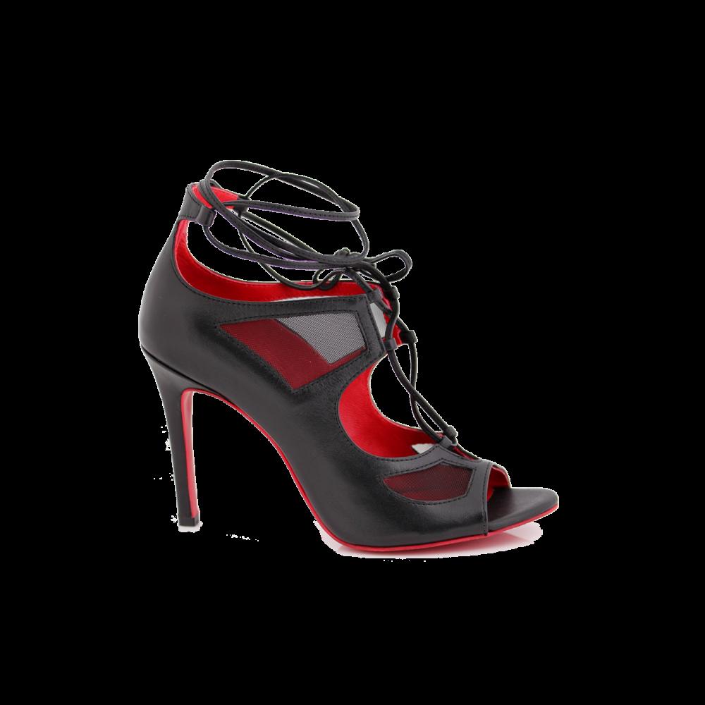 Дамски официални сандали от естествена кожа с връзки - 1