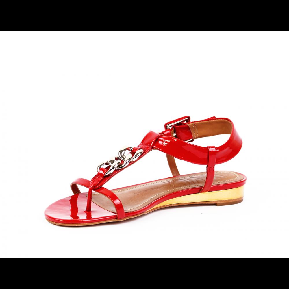 Дамски сандали естествен червен лак - 2