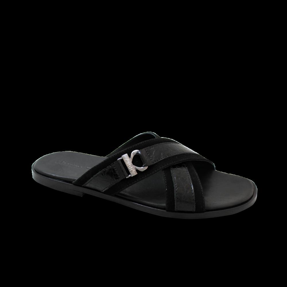 Мъжки чехли от естествен велур с лак в черен цвят GN-1204 - 1