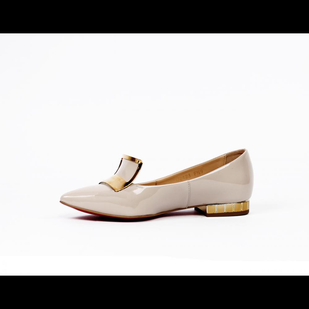 Дамски обувки естествен бежов лак - 2