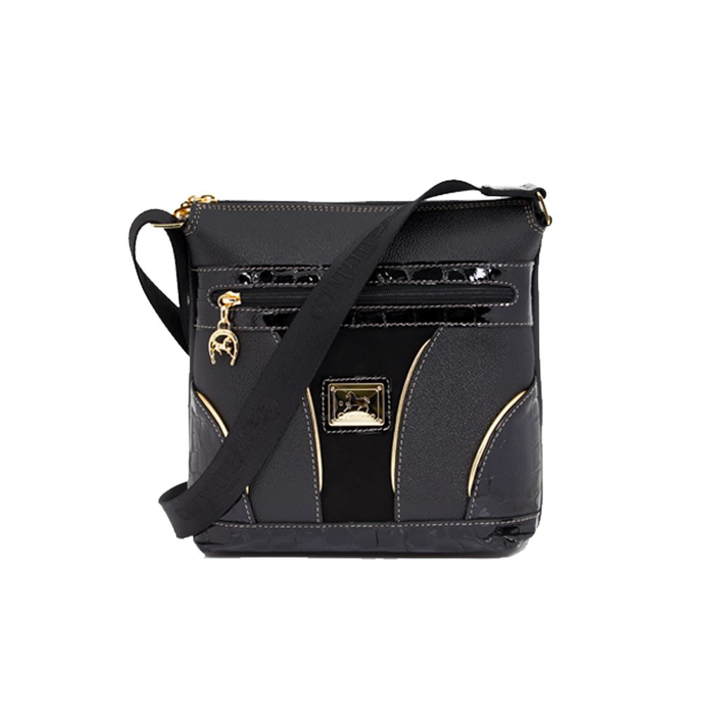 Дамска чанта естествена и еко кожа в черен цвят CV-405-88 - 1