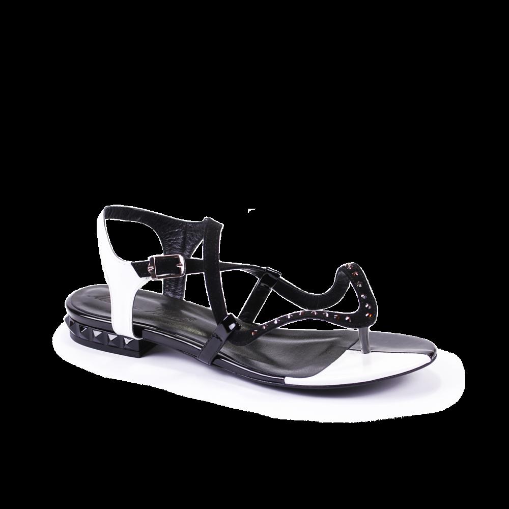 Дамски сандали естествен велур и лак - 1