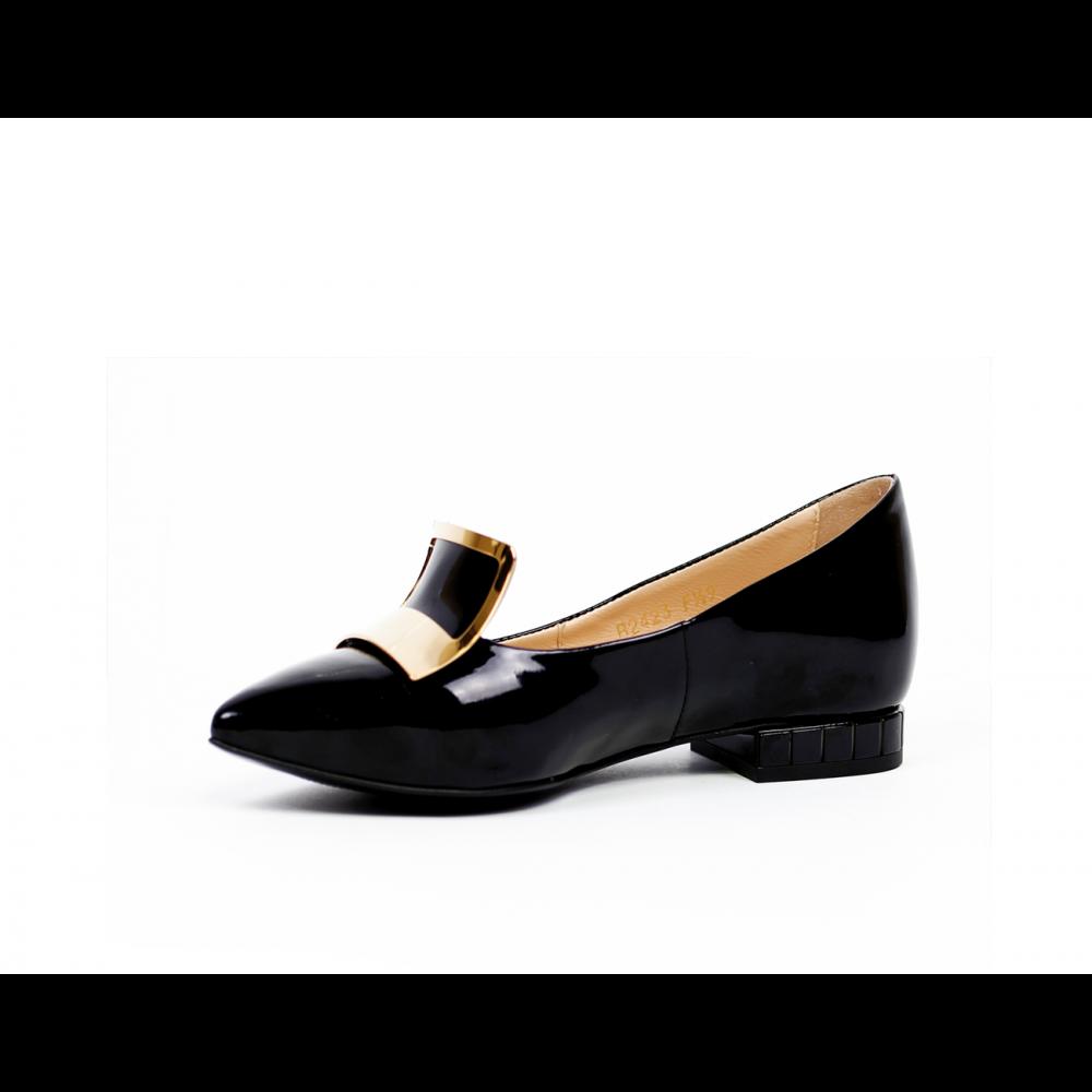Дамски обувки естествен черен лак - 2