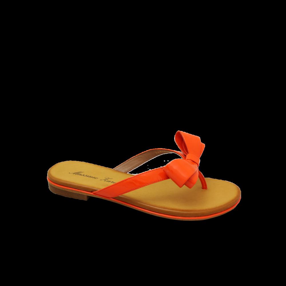 Дамски чехли естествен лак оранж - 1