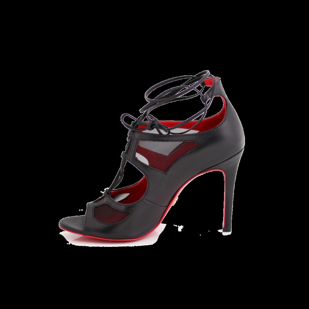 Дамски официални сандали от естествена кожа с връзки - 2