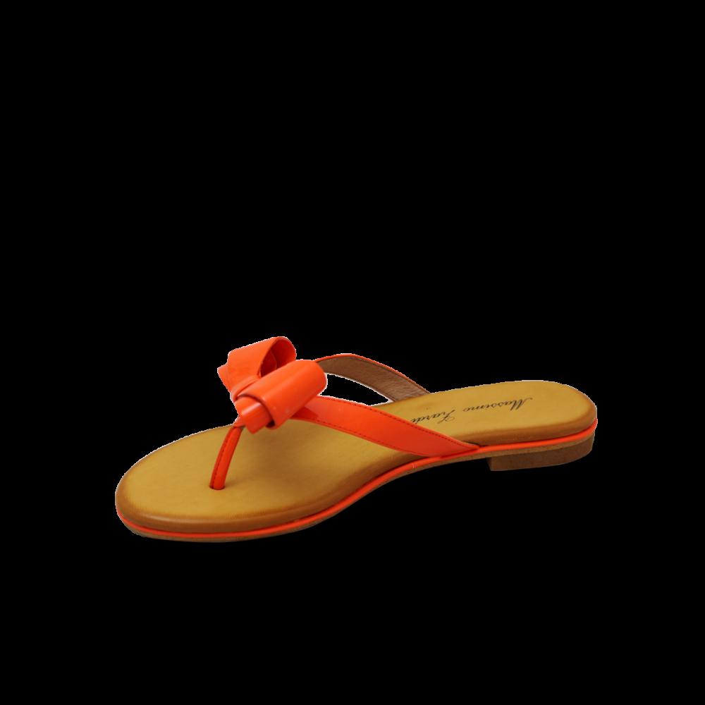 Дамски чехли естествен лак оранж - 2