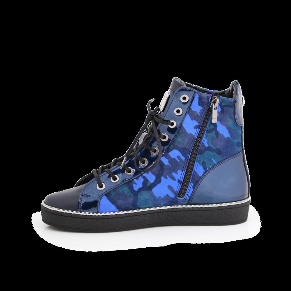 Дамски спортни обувки естествена кожа, лак и велур - 2
