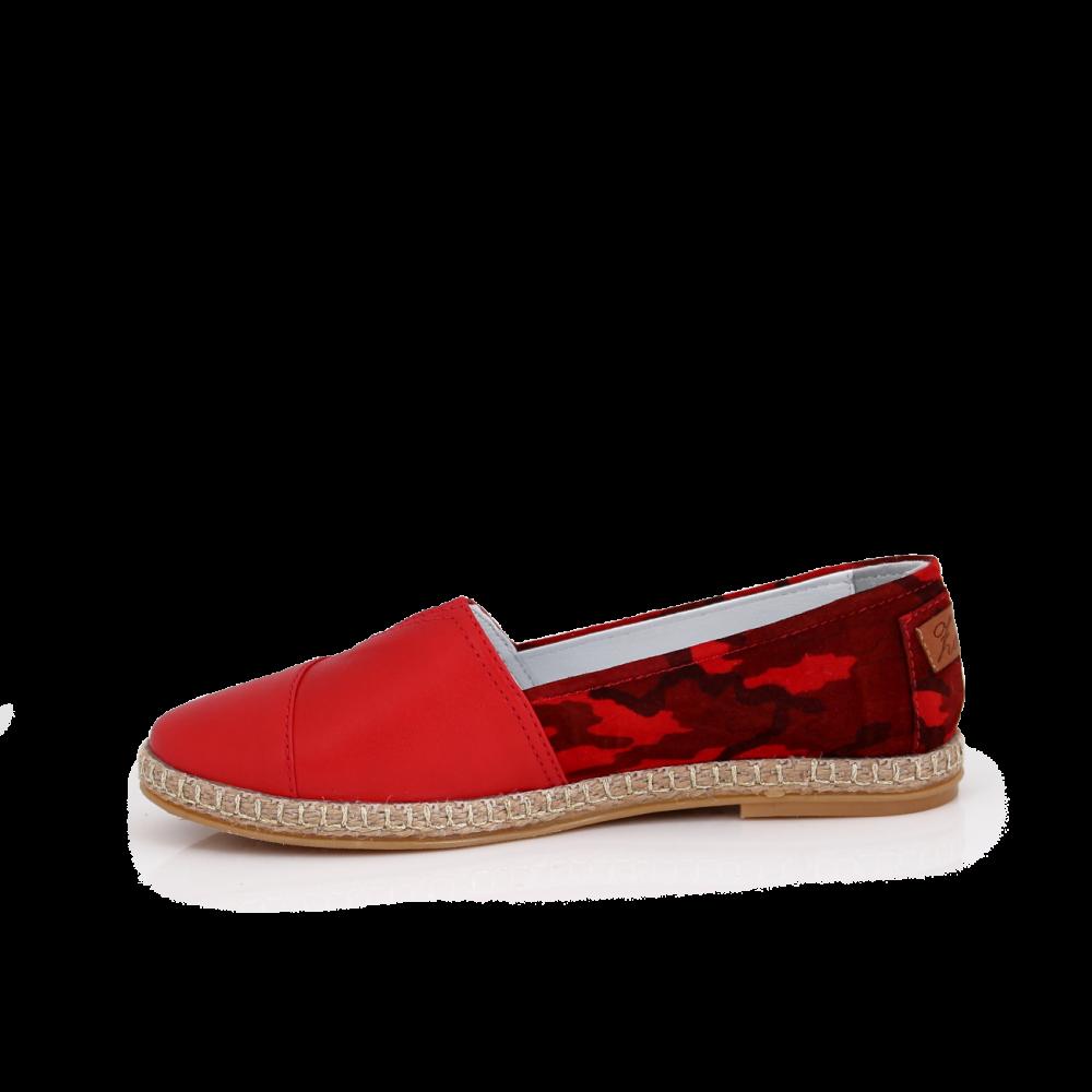 Дамски обувки от естествена червена кожа и  - 2