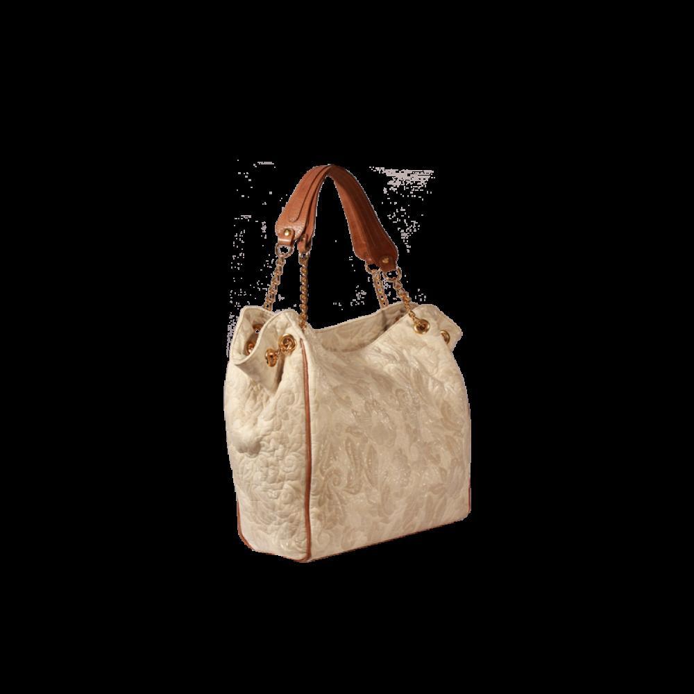 Дамска чанта от текстил и естествена кожа - 2