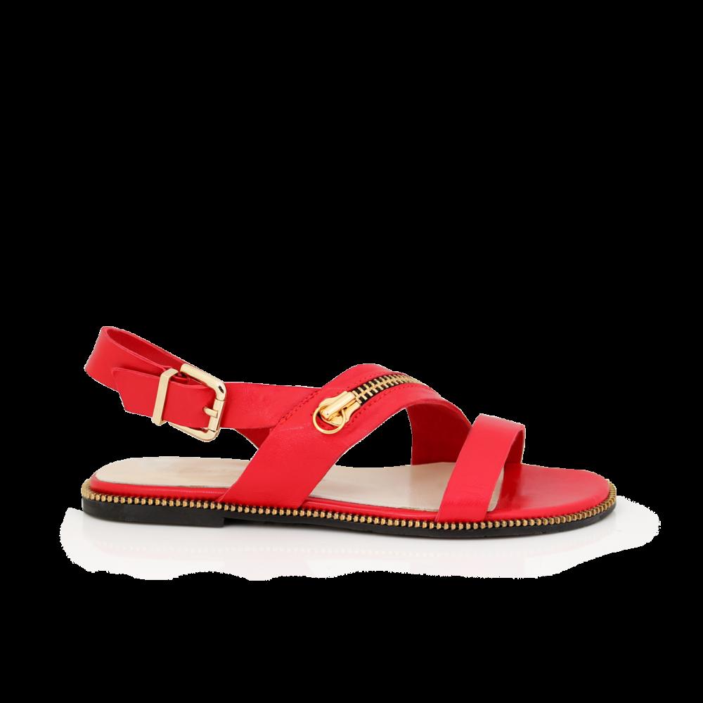 Дамски сандали от естествена кожа в червен цвят Т1-351-06-3 - 1