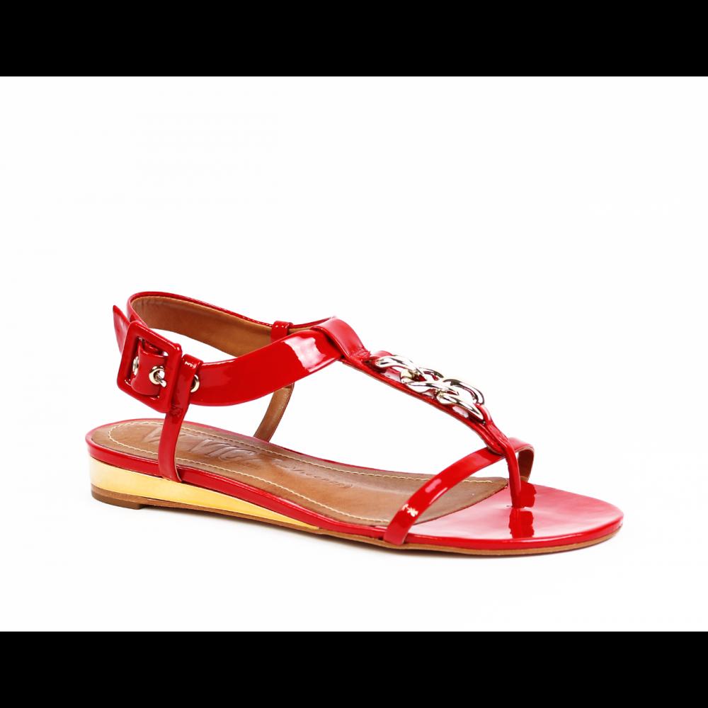 Дамски сандали естествен червен лак - 1