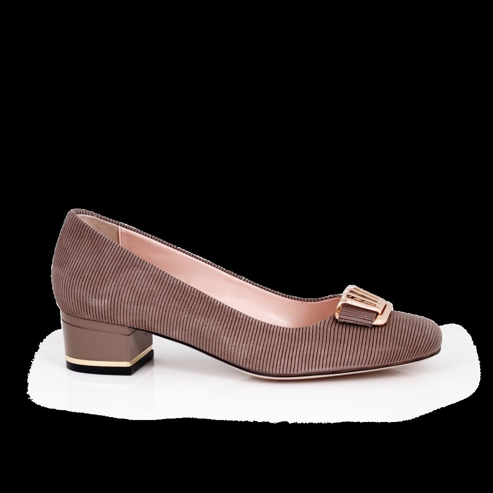 Дамски обувки от естествен щампован велур - 1