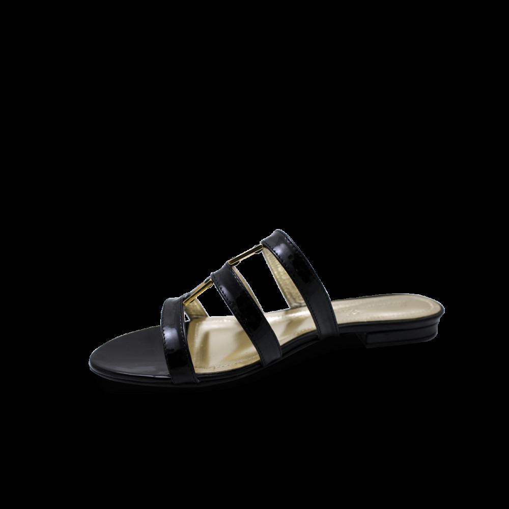 Дамски чехли естествен черен лак - 2