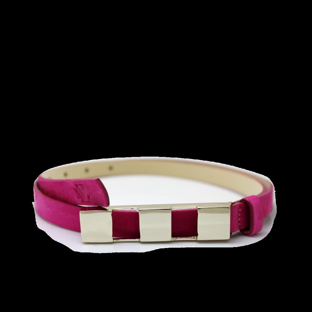 Дамски колан от естествен велур в розов цвят LD-4630 - 1