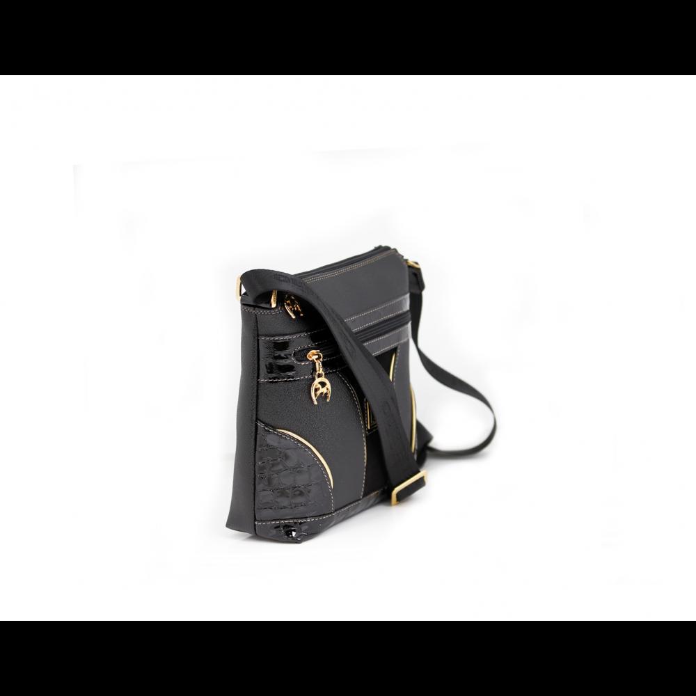 Дамска чанта естествена и еко кожа в черен цвят CV-405-88 - 2