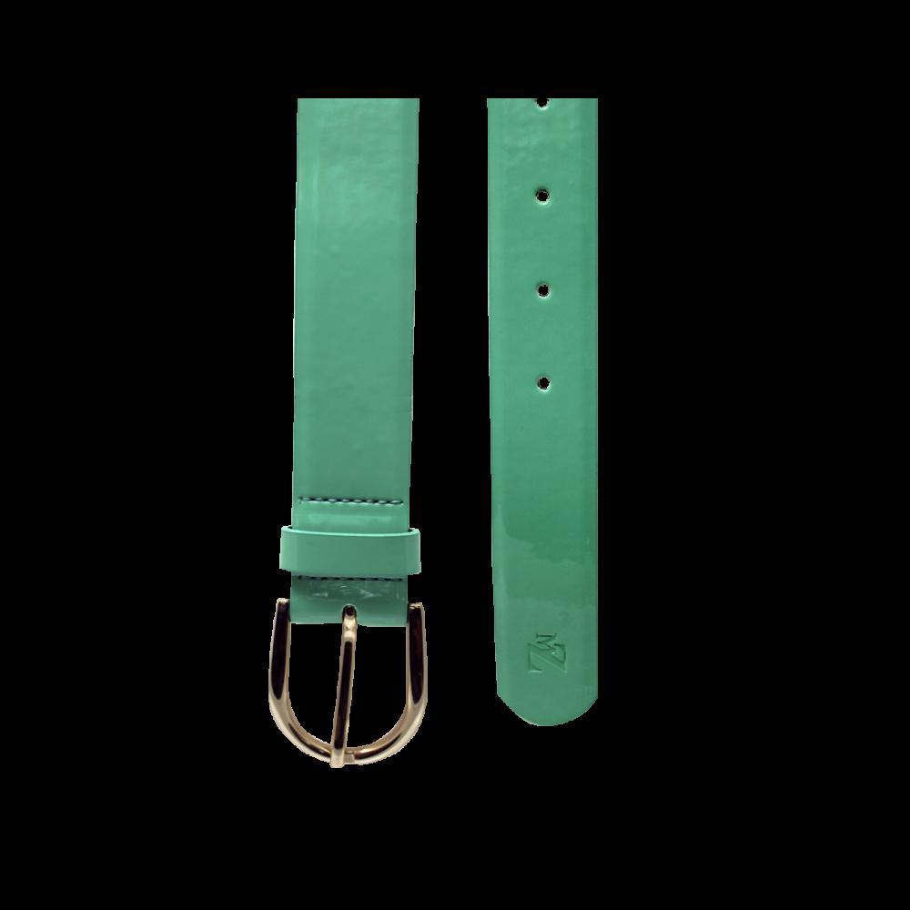 Дамски колан от еко лак в зелен цвят LD-772 - 2