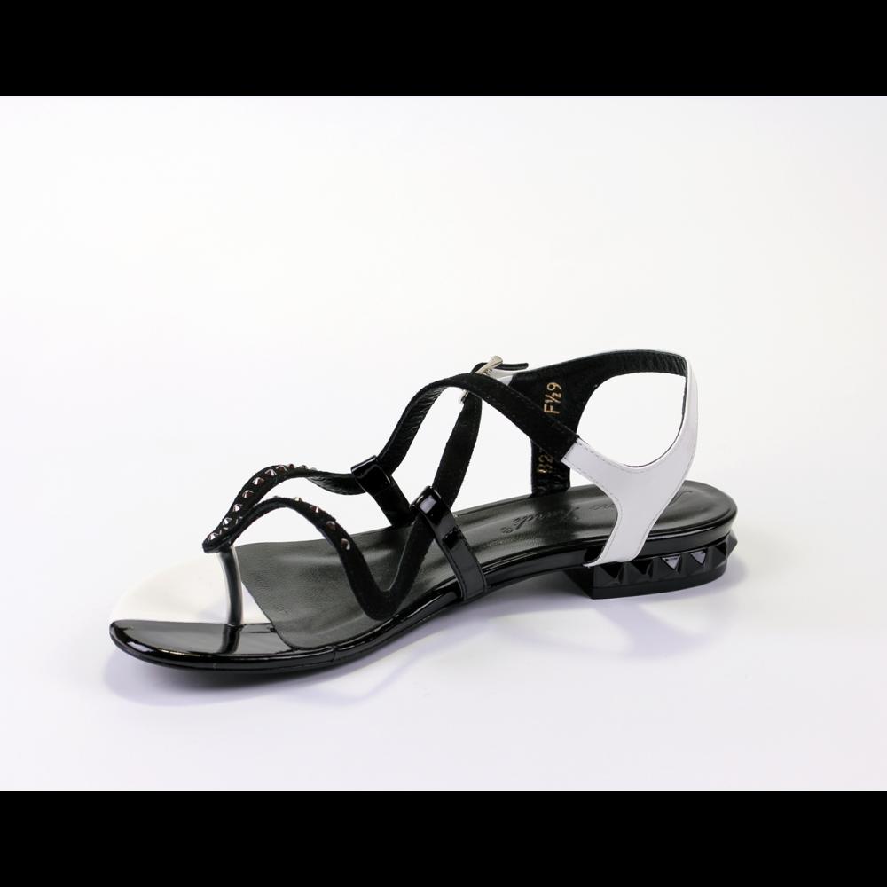 Дамски сандали естествен велур и лак - 2