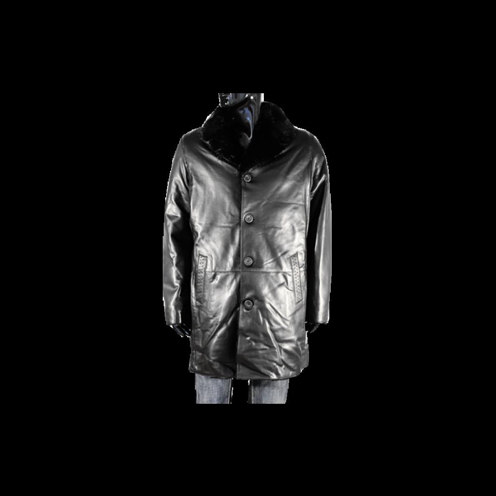 Мъжки якета от естествена кожа в черен цвят PM-95050 - 1
