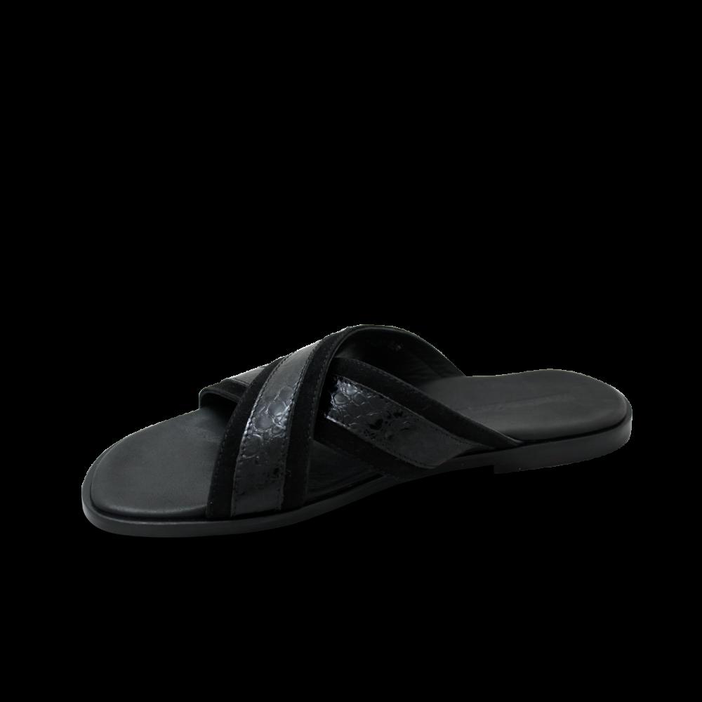 Мъжки чехли от естествен велур с лак в черен цвят GN-1204 - 2
