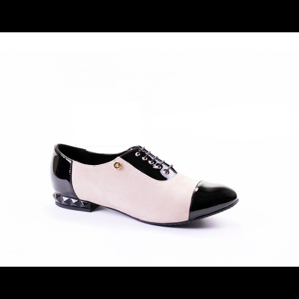 Дамски обувки от естествен велур с лак CP-2227 - 1
