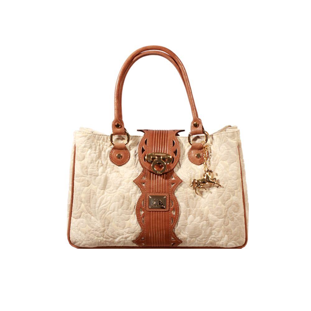 Дамска чанта от текстил и естествена кожа - 1