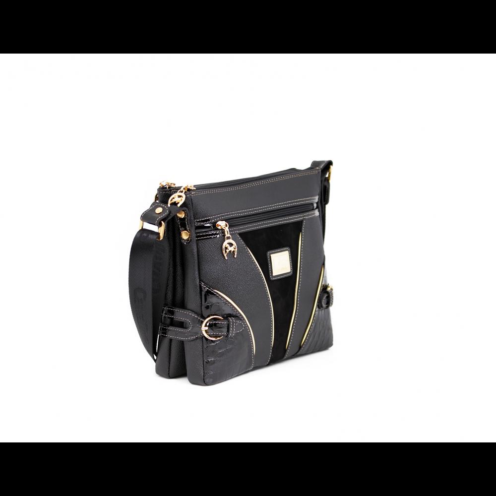 Дамска чанта естествена и еко кожа в черен цвят CV-111-88 - 2