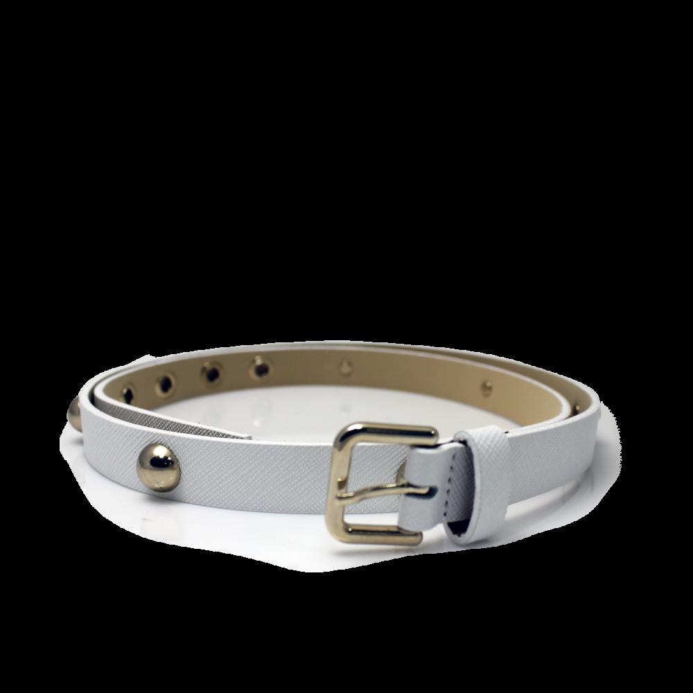 Дамски колан от естествена кожа в бял цвят LD-7633 - 1