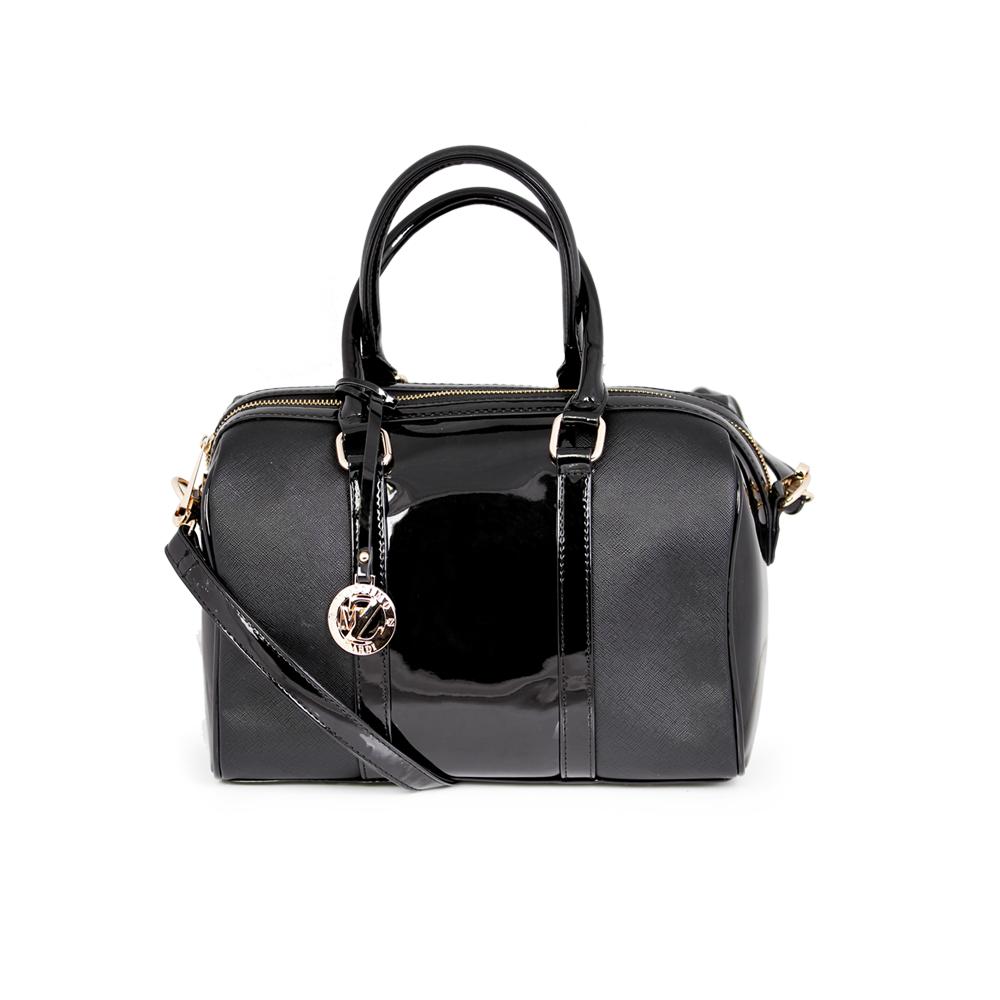 Дамска чанта от еко кожа и лак - 1