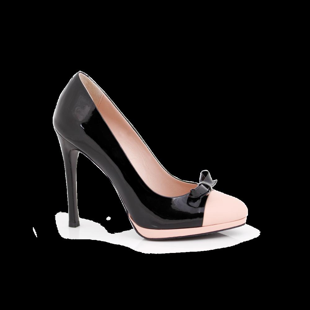 Дамски обувки от естествен лак и кожа  - 1