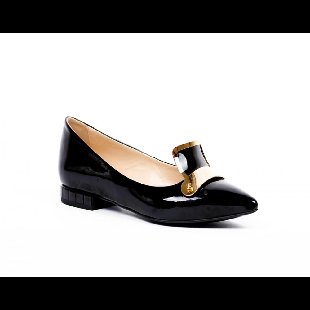 Дамски обувки естествен черен лак - 1