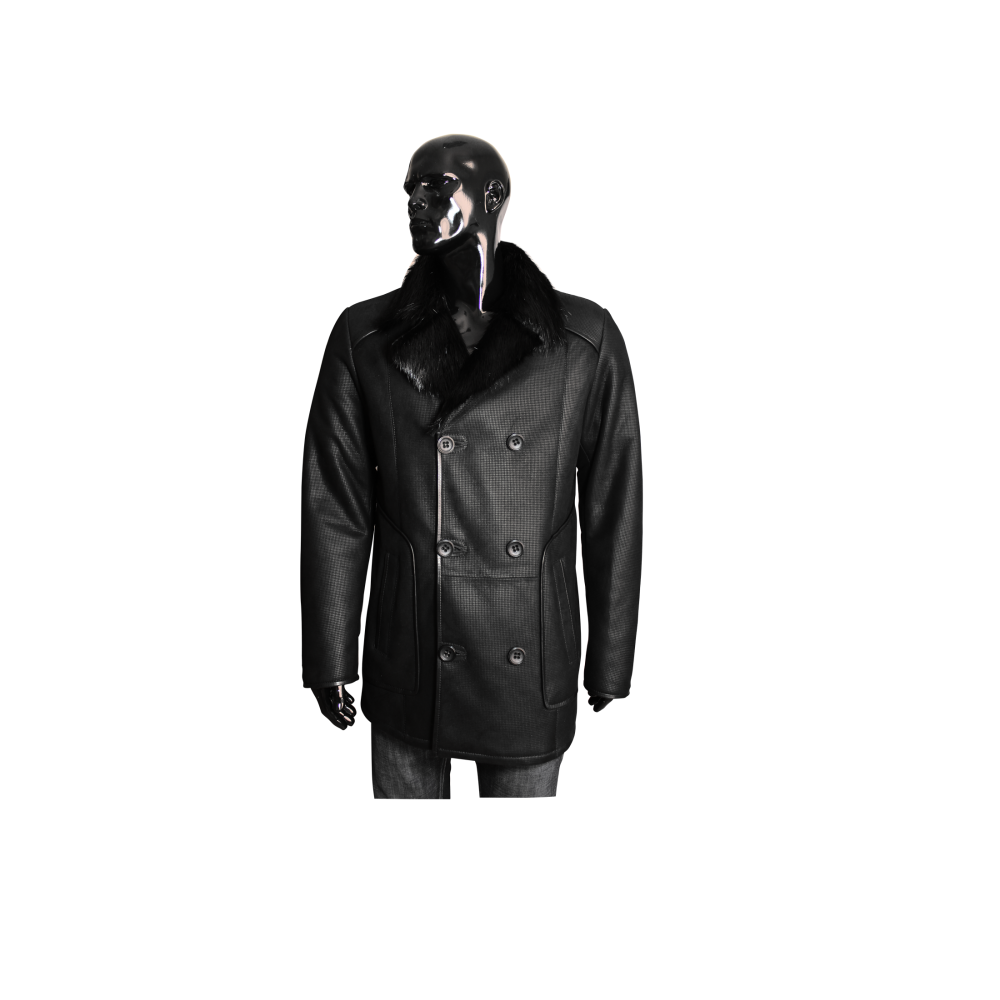 Мъжко яке от естествена кожа  K-502 Черен - 1