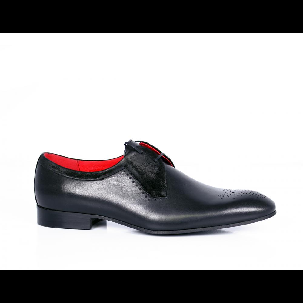 Мъжки официални обувки естествена кожа и велур - 1
