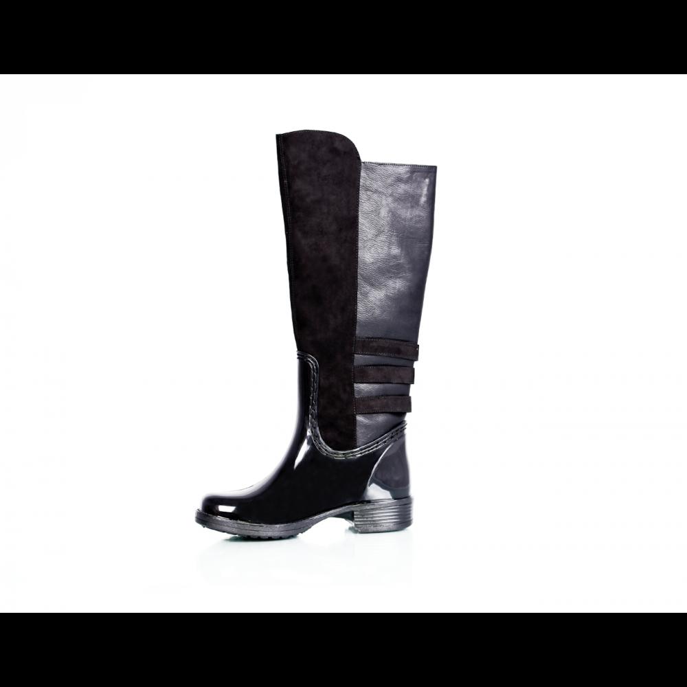 Дамски гумени ботуши с текстил и еко кожа  - 2