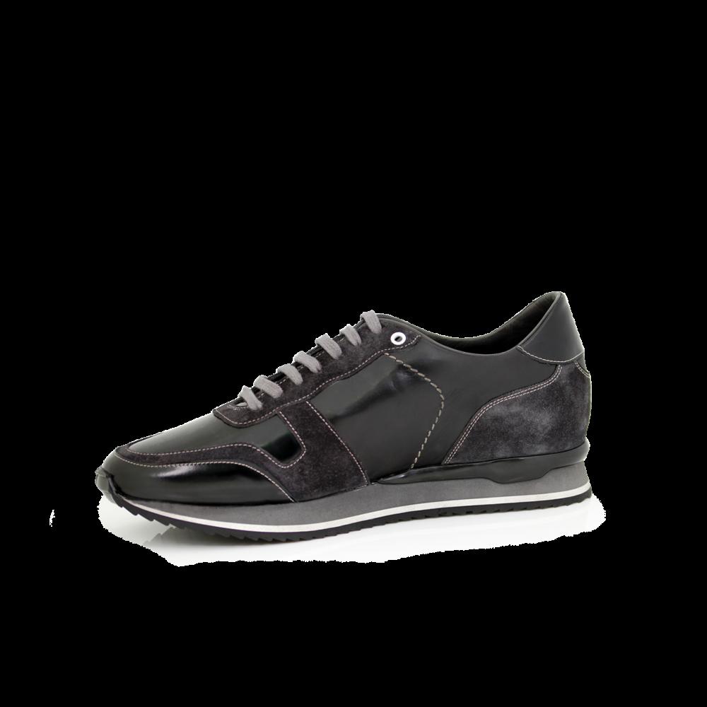 Мъжки спортни обувки естествена кожа в черно и сиво MRS-11475 - 2