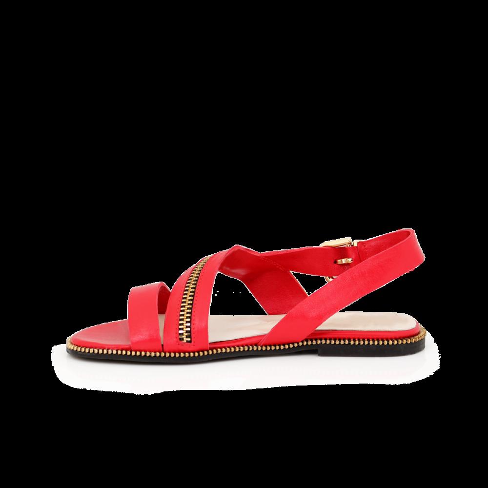 Дамски сандали от естествена кожа в червен цвят Т1-351-06-3 - 2
