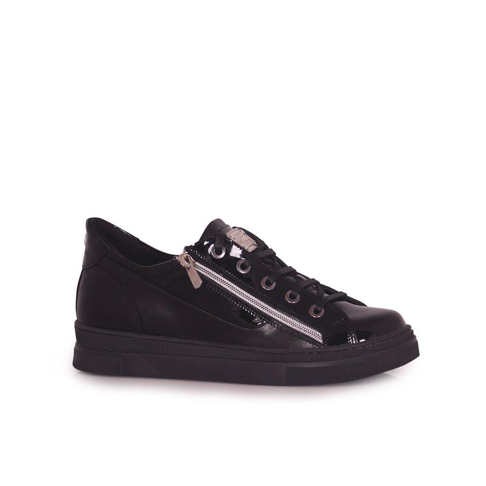 Дамски спортни обувки естествена кожа и лак - 1
