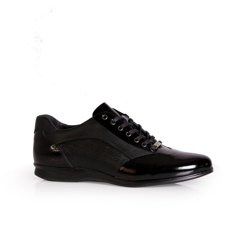 Мъжки спортни обувки от естественa кожа и лак - 1