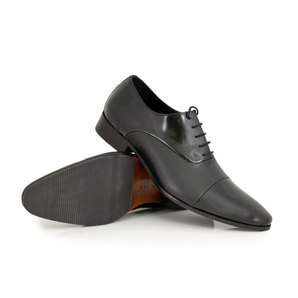 Мъжки официални обувки естествен лак и кожа - 3