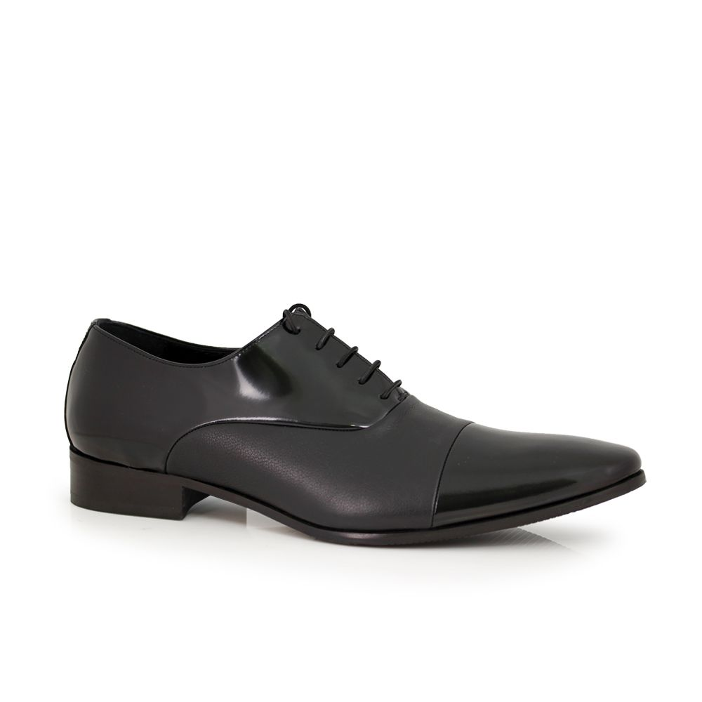 Мъжки официални обувки естествен лак и кожа - 1