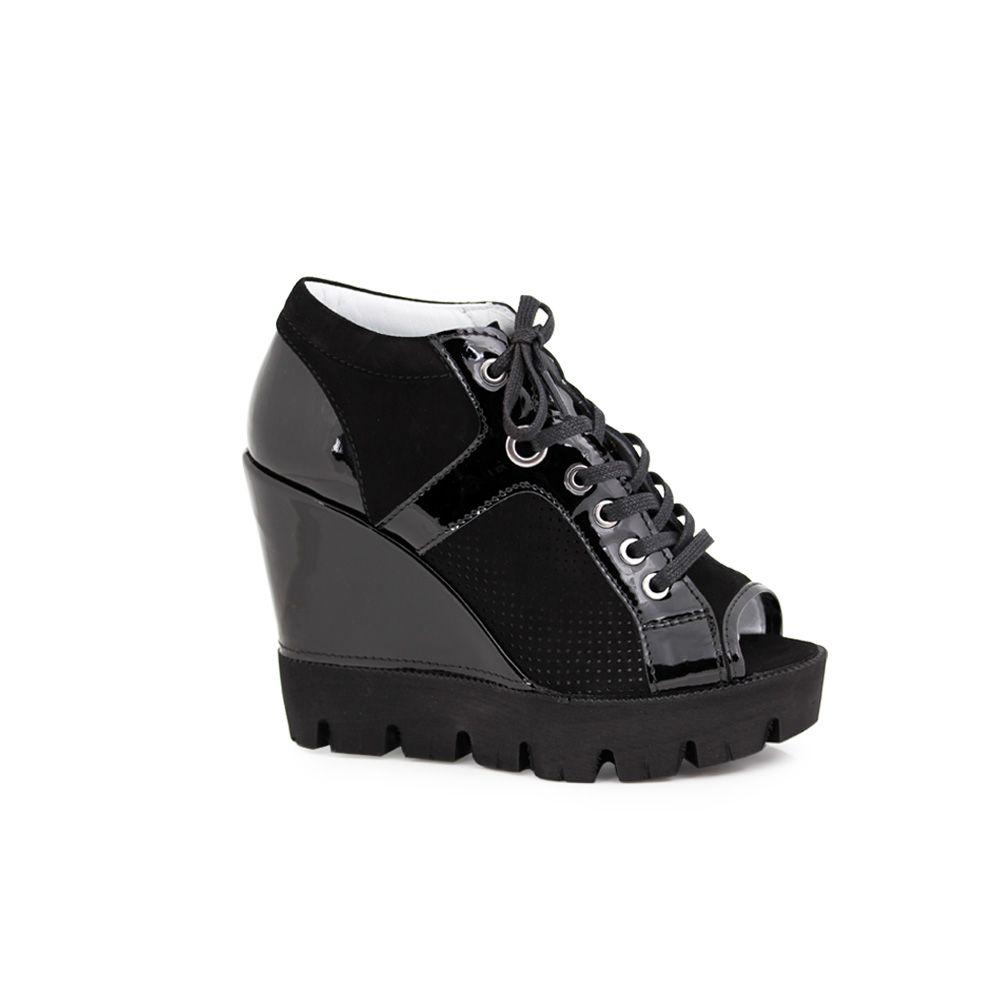 Дамски летни обувки от естествен лак и велур - 1