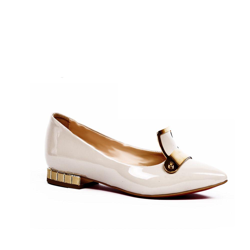 Дамски обувки естествен бежов лак - 1