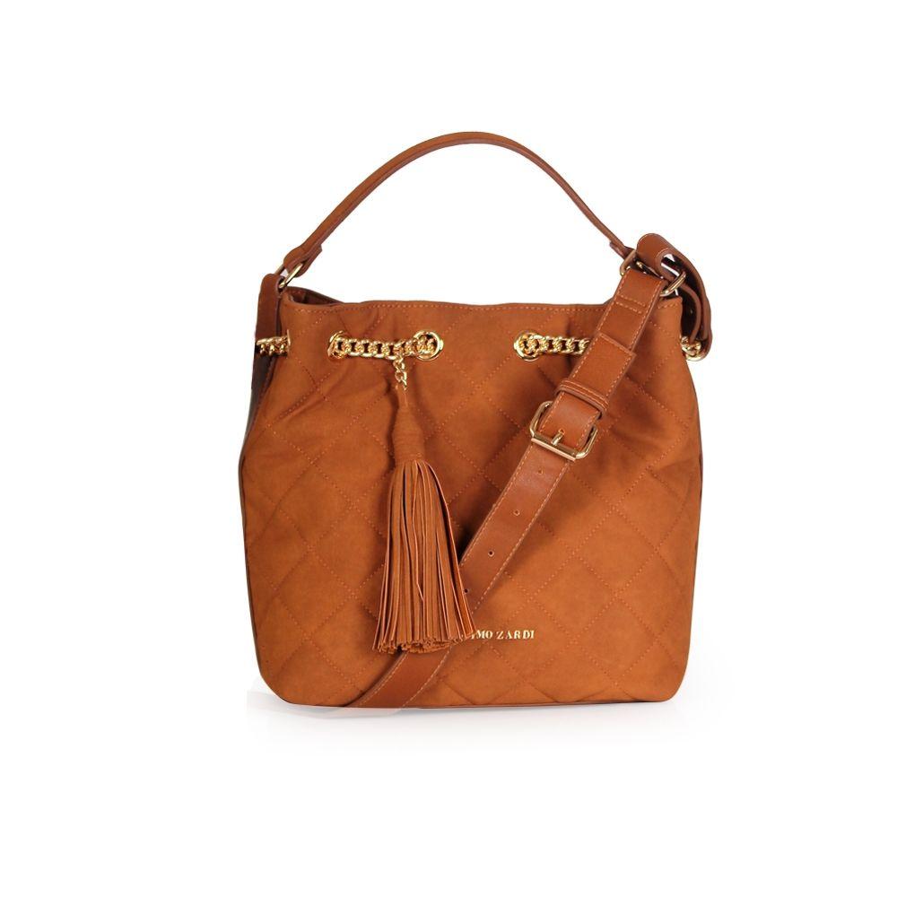 Дамска чанта от еко кожа и велур  - 1