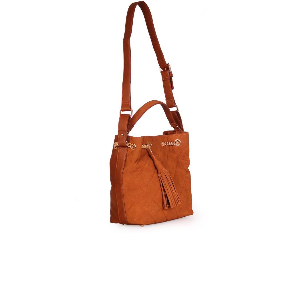 Дамска чанта от еко кожа и велур  - 3