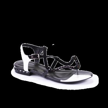 Дамски сандали естествен велур и лак