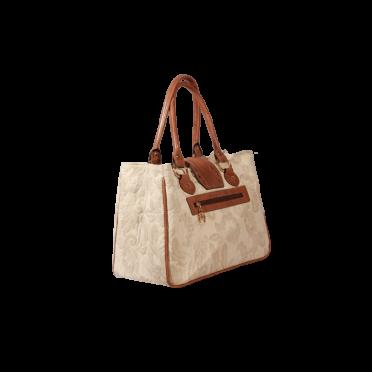 Дамска чанта от текстил и естествена кожа